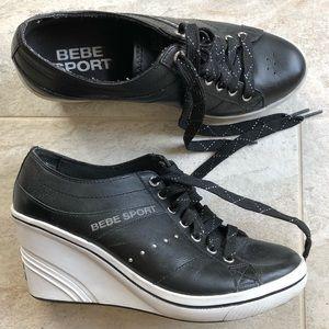 Bebe Sport Black Wedge Heels Sneakers